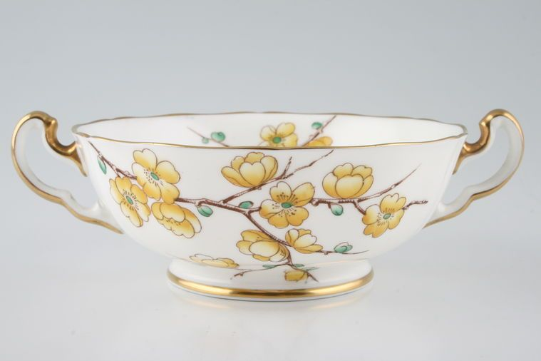 Adderley - Chinese Blossom - Yellow - Soup Cup - 2 handles