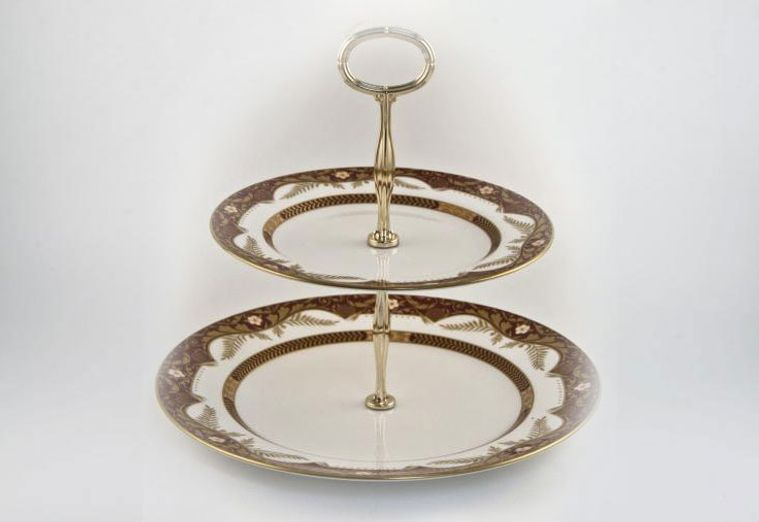 Various - Cake Stands - Cake Stand - 50 - Spode Balmoral, 2 tier with gold handle