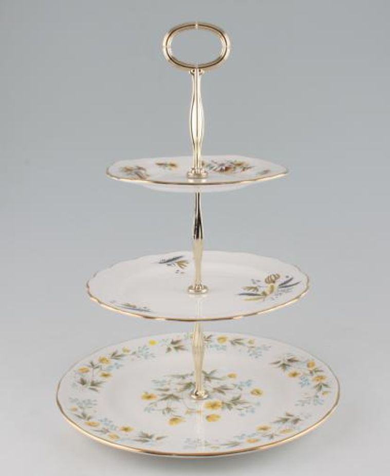 Various - Cake Stands - Cake Stand - 86 - 3 Tier Colclough Angela, Stardust and 8255 10 1/2